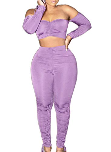 CORAFRITZ Mujer Casual Color Sólido 2 Piezas Clubwear Manga Larga Hombro Descubierto Bandeau Crop Top Bodycon Cintura Alta Pantalones Largos Mujer Lounge Wear Sets