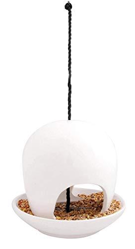 Esschert Design Vogelhaus, Vogelfutterhaus mit Kuppel aus Keramik in weiß, zum Aufhängen, ca. 19 cm x 19 cm x 18 cm