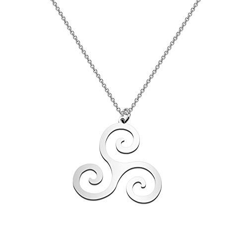 CENWA Triskelion Pendant Celtic Symbol Stainless Steel Triple Spiral Necklace Emblem Amulet Talisman Charm Trinity Sign (Triple Spiral N)