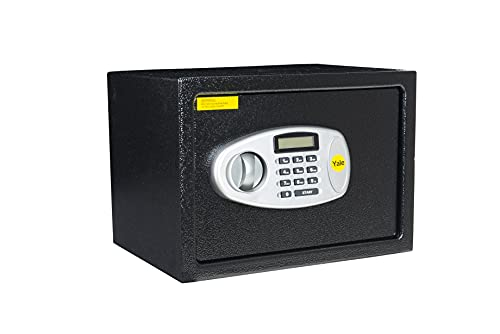 Yale Y-MS0000NFP średni cyfrowy sejf, konstrukcja stalowa, wyświetlacz LCD, stalowe śruby blokujące, klucz awaryjny, mocowanie ścienne i podłogowe, sejf domowy, 16 litrów pojemność, 25 x 35 x 25 cm