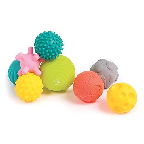 LUDI Set mit 8 Bällen für frühe Entwicklung Gemischte sensorische Bälle | Verschiedene Formen und Farben | Weiches Plastik | Ab 6 Monaten