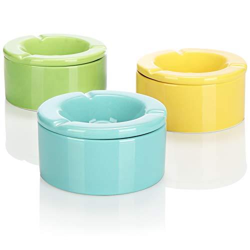 com-four® 3X Windaschenbecher, Aschenbecher aus feinster Dolomit Keramik, Sturmaschenbecher mit abnehmbarem Aufsatz-Deckel 11,5 x 6 cm (blau grün gelb)