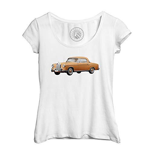Frauen T-Shirt Alter Schöner Mercedes Auto Retro Weinlese-orange Chrom