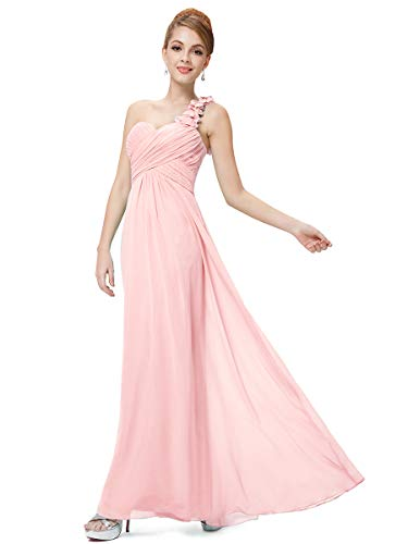 Ever-Pretty Damen Blumen One Shoulder Chiffon Maxi Abendkleider Größe 36 Rosa