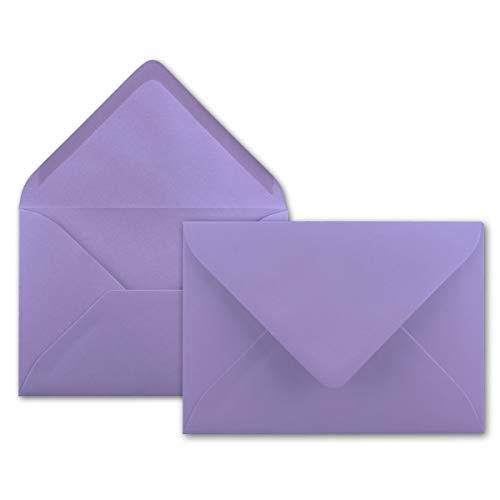 100x Brief-Umschläge in Flieder - 80 g/m² - Kuverts in DIN B6 Format 12,5 x 17,6 cm - Nassklebung ohne Fenster