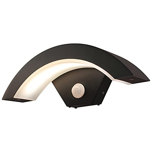 Applique da Esterno con Sensore di Movimento HOMEOW 12W LED Lampada da Parete Esterno Interni Nero IP65 Impermeabile Bianca Caldo 3000K Lampada da Muro per Balcone Giardino Veranda Via Garage