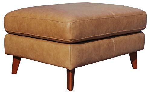 "Amazon Brand – Rivet Sloane Mid-Century Modern Leather Ottoman, 31.9""W, Caramel"
