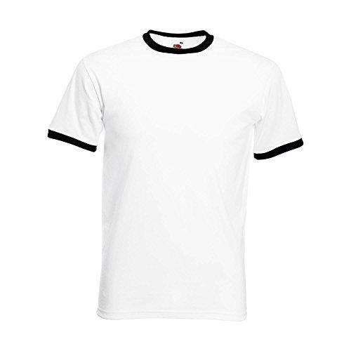 Fruit of the Loom Herren Ringer Retro T-Shirt Farbe Schwarz/Weiß Größe S