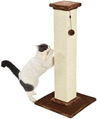 Amazon Basics – Poste rascador para gatos de primera calidad, alto y grande, 40,6×88,9×40,6 cm, alfombra marrón