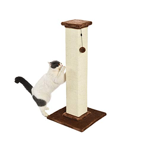 Amazon Basics Large Premium Tall Cat Scratching Post - 16 x 35 x 16 Inches, Brown Carpet