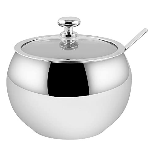 Hillvo Stainless Steel Sugar Bowl with Clear Lid...