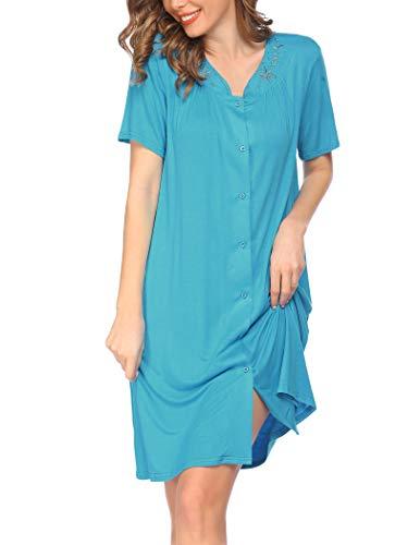 Ekouaer Soft Comfortable Cotton Nightshirt Short Sleeve V Neck Nightdress Button Down Housecoat Sleep Shirt for Women S-XXL Blue