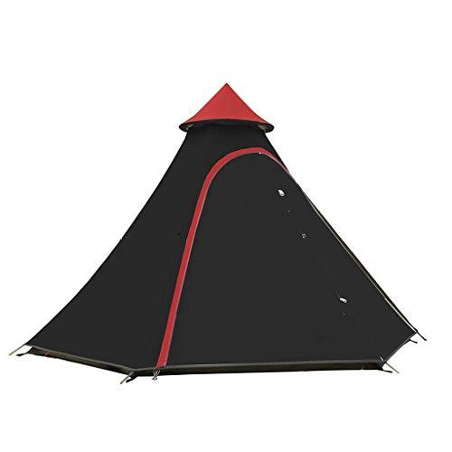 CATRP Marke Zelt Dreieck 3-4 Person Draussen Doppelschicht Anti-Regensturm Mehrzweck Freizeit Tragbares Zelt, 3 Farben (Farbe : SCHWARZ)