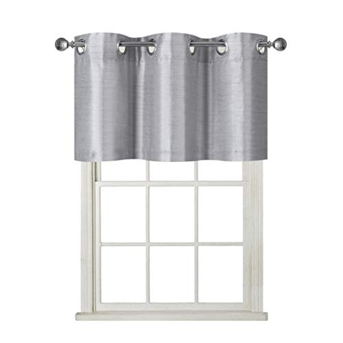 Rama Rose Pole Pocket Kitchen Swag Curtains - Burlap Scalloped Valance for Farmhouse ( 2 Pack, 72 Inches Wide Combined, 63 Inches Long, Brown)