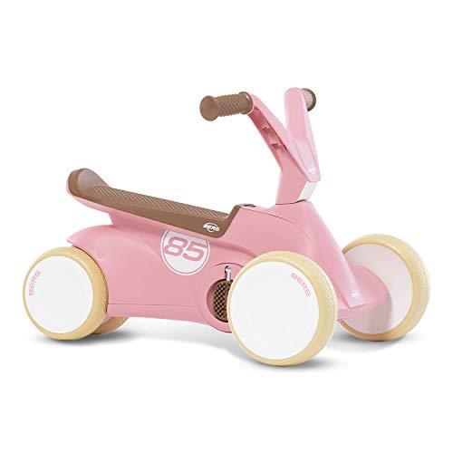 Berg GO² 2 en 1 - Coche Antideslizante para niños con Pedales Plegables, diseño Retro, Color Rosa