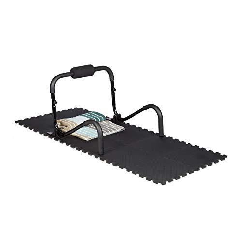 Relaxdays Bodenschutzmatte Fitnessgeräte 30x30cm, 24er Set, 2,1m², stoßdämpfende Schutz Unterlagen, Stärke 1cm, schwarz