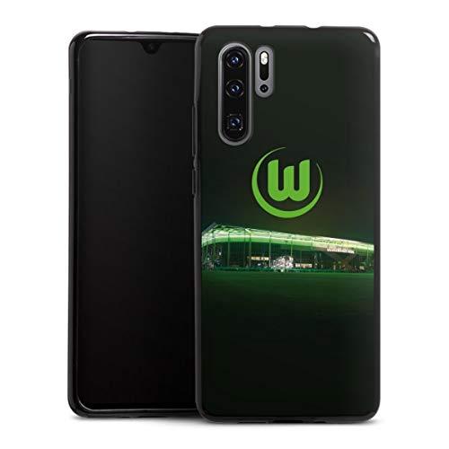 DeinDesign Silikon Hülle kompatibel mit Huawei P30 Pro Case schwarz Handyhülle Offizielles Lizenzprodukt VFL Wolfsburg Stadion