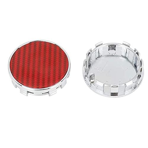 Ntjsmc Tapas de cubo de centro de rueda universales, juego de tapacubos de cubierta a prueba de polvo, patrón de fibra de carbono rojo 54 mm, 4 piezas