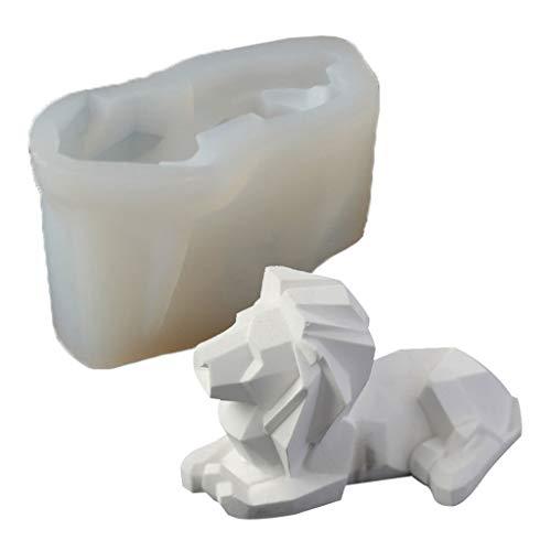 Baiyao Molde de fundición de resina de león 3D, molde de silicona para hacer velas, jabón de silicona de león de bestia animal 3D, molde de resina epoxi de silicona, molde para decoración del hogar