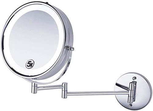 Lente di ingrandimento 8,5 pollici illuminazione specchio di bellezza bagno LED montati pieghevole telescopica specchio ingranditore da bagno, di una parete Specchio ingrandimento 5X Magnifier con luc