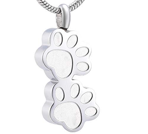 PicZhiwenture Collar de urna Conmemorativa de Acero Inoxidable con Doble Pata de Perro/Gato para Cenizas de Mascotas, Recuerdo, joyería de cremación, Colgante, medallón