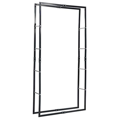 vidaXL Leñero de acero negro 100x25x200 cm