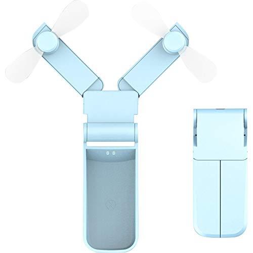 Xiao Jian Draagbare, opvouwbare mini-ventilator met dubbele kop, draagbaar, elektrisch, oplaadbaar, voor studenten, schattig, mini met windy kleine micro-persoonlijkheid, 1 W