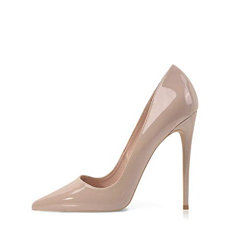 Elisabet Tang Women Pumps, Pointed Toe High Heel 4.7 inch/12cm Party Stiletto Heels Shoes Nude 8