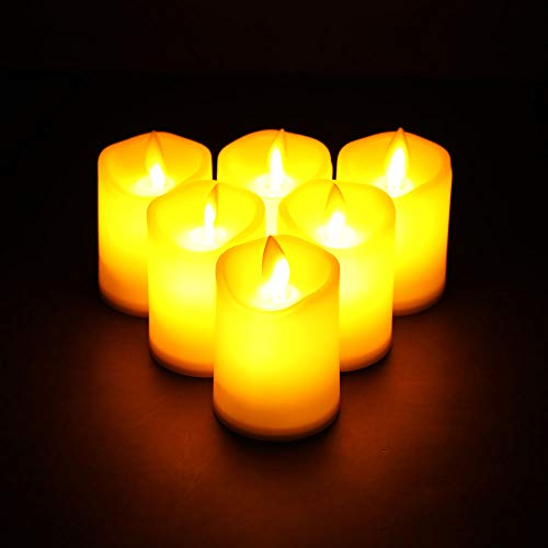 JHY DESIGN 5x7cm Pack of 6 Flickering Battery Candle Set Plastic Flameless Candles Battery Powered with Dancing LED Flames Electric Fake Candles for Lantern Home Bedroom Parties Weddings Valentine