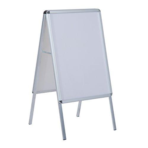 HOMCOM Espositore Pubbliciario Bifacciale a Cavalletto Pieghevole in PVC Bianco