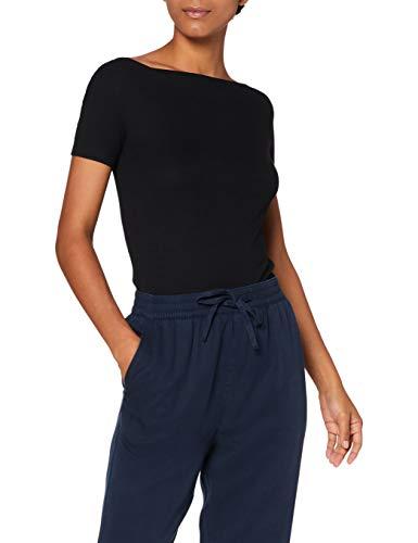 Amazon-Marke: MERAKI Damen T-Shirt mit U-Boot-Ausschnitt, Schwarz (Black), 38, Label: M