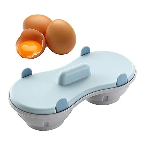 Hervidor de Huevos para Microondas, Hervidor de Huevos de Doble Taza, Cocedor de Huevos de Plástico, Microondas Huevos Escalfados, Hervidor de Huevos para El Desayuno Que Ahorra Tiempo (Azul)