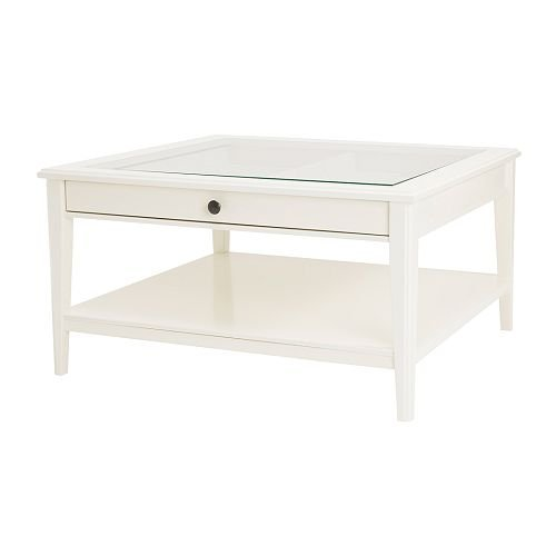 IKEA LIATORP White Coffee Table with Glass Top , 36 5/8x36 5/8
