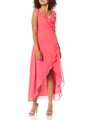 BB Dakota Damen Formation Cross Back Maxi Dress Kleid, hot pink, Groß