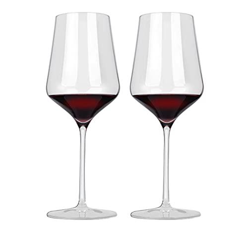 HYAN Copa de Vino Copas de Vino 530ml - Claridad Clara de Cristal, diseño clásico de tazón de Tallo Alto vinos Rojos y Blancos lavavajillas Seguro. Copas de champán (Color : Set of 2)
