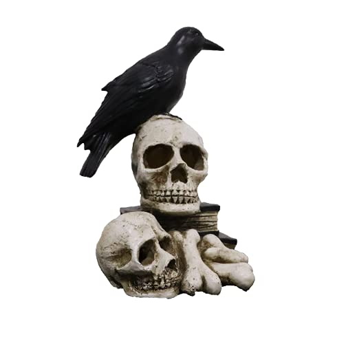 Halloween Crow Skeleton Skull Head Lamp,Halloween Decorative Night Light Crows Perched On Skeletons and Books,Resin Craft Statues Battery Operated LED Lights for Halloween Decoration