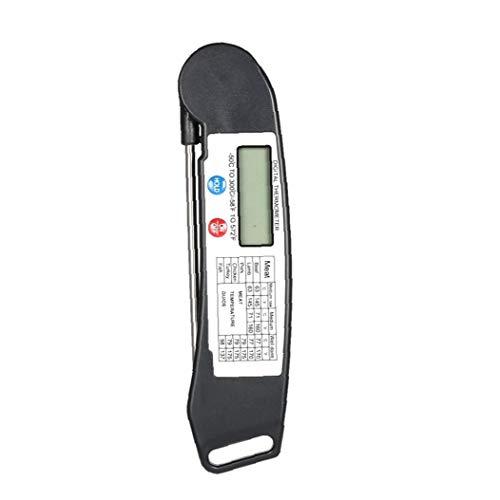 JRXyDfxn Folding Lebensmittel-Thermometer Fleisch Instant-Thermometer lesen LCD Display Barbecue Thermometer Genaue Digital-Nahrungsmittelthermometer für BBQ Grill Küche Huhn Milch Schwarz