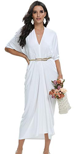 Womens Summer Short Sleeve Modest Formal Work Casual Long Maxi Dress White Large