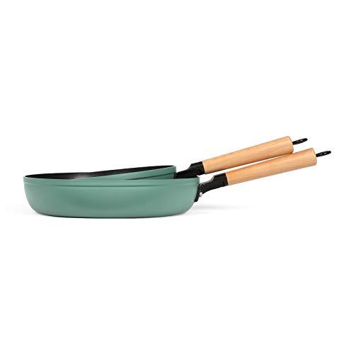 Juego de sartenes de inducción de 24 cm y 28 cm – Juego de sartenes revestidas 2 piezas – Sartén con mango de madera apta para inducción – Sartén antiadherente verde