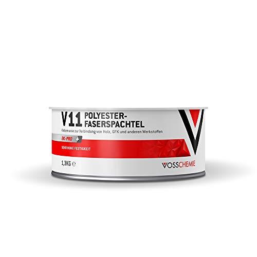 Vosschemie V11 Glasfaserspachtel 1.300g - 2K Polyesterspachtelmasse mit Glasfasern verstärkter Faserspachtel