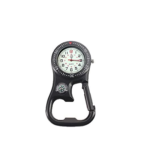 Schwarze FOB-Karabiner-Clip-Uhr Mit Kompass Und Korkenzieher, Geeignet Für Ärzte, Krankenschwestern, Köche, Outdoor-Abenteuer
