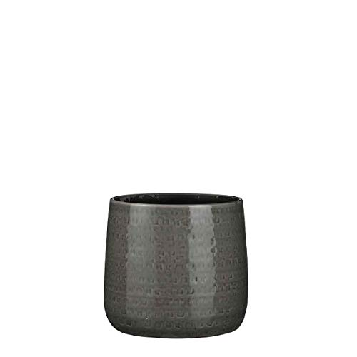 Mica Decorations Floyd Pot de fleurs céramique rond gris 21 x Ø 24 cm - Pot de plante