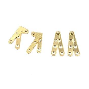 Tulead Pivot Hinge Door Pivot Hinges Cabinet Rotating Hinge Door Fitting Brass Pivot Drawer Hinges  Including 2pcs L-Shaped and 2pcs Straight Hinges