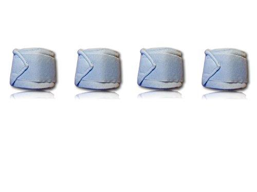 Bandagen für Pferde weiche und rutschfeste Fleecebandagen mit Klettverschluss im 4er Set (210cm x 8cm, Hellblau)