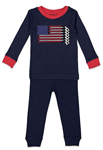 Haase Unlimited Hockey Sticks American Flag - USA Sports Infant/Toddler Pajama Set (Navy Blue & Red Top/Navy Blue Bottoms, 5T/6T)