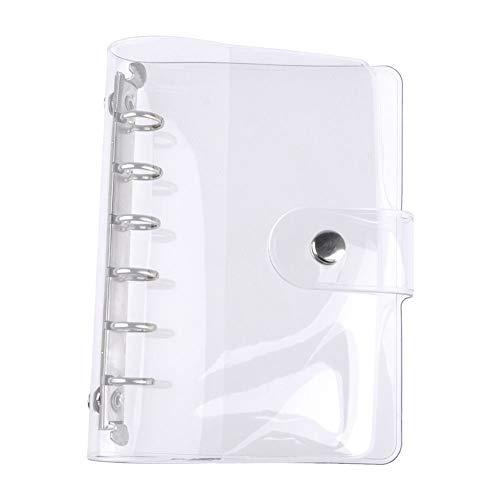 Keyzone Ringbuch 6 Ringe Loose Leaf Binder Tagebuch mit Klare Notizbuch Hülle aus weichem PVC Nachfüllbar Notebook-Schutz A6