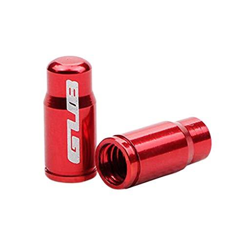 Par de tapa de válvula de neumático de bicicleta de aleación de aluminio para Presta francés/Schrader boquilla americana tapa de vástago de neumático - FV rojo
