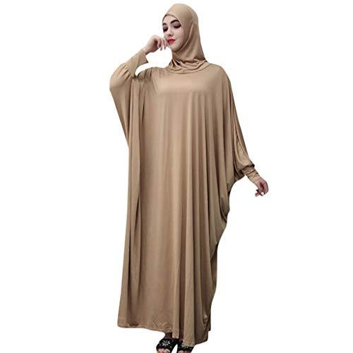 Lazzboy Muslim Frauen Einfarbig Kopfbedeckungen Moschee Fledermaus ärmel Strickjacke Ramadan Kleid Ethnische Roben Damen Sommer Muslimische Kleider Spitze Getrimmt Vorne Abaya Maxi Kaftan(Gold)