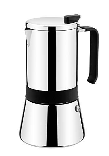 Monix 3 Aroma-Cafetera Italiana, Acero Inoxidable, 18/10, 10 Tazas, 12 cm