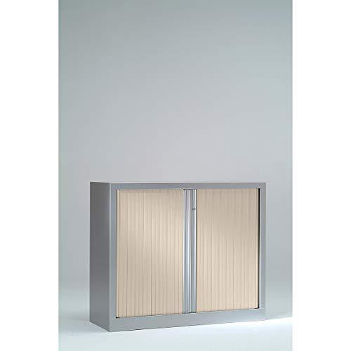 Armoire Monobloc à rideaux | Aluminium | Erable| HxLxP 1000 x 1200 x 430 | Certeo